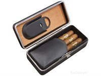Футляр для 3 сигар Aficionado Cigar Leather Case LCFC BLK